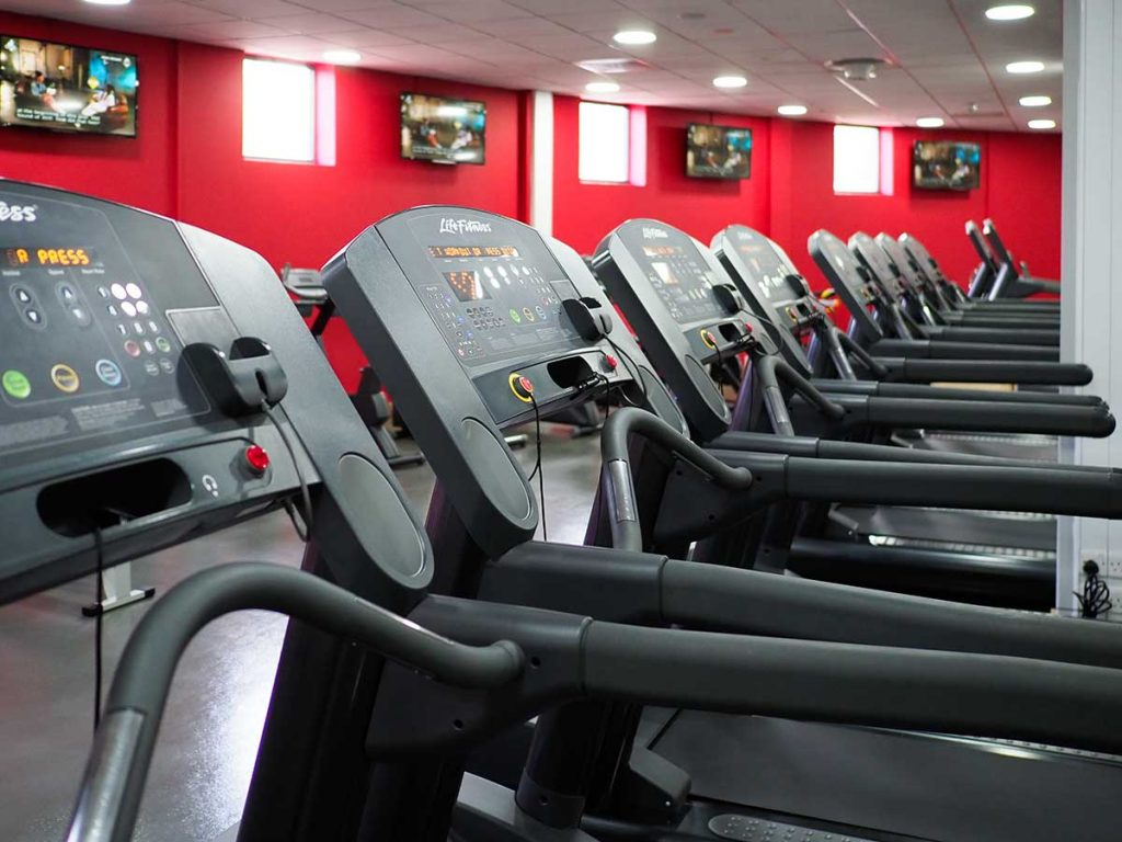 A row of treadmills at a gym