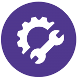 Icon image to show a cog wheel and a spanner