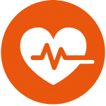 Icon image to show a heart with a pulse line going through its centre
