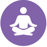 Icon image to show a person sitting down in a meditation position with legs crossed