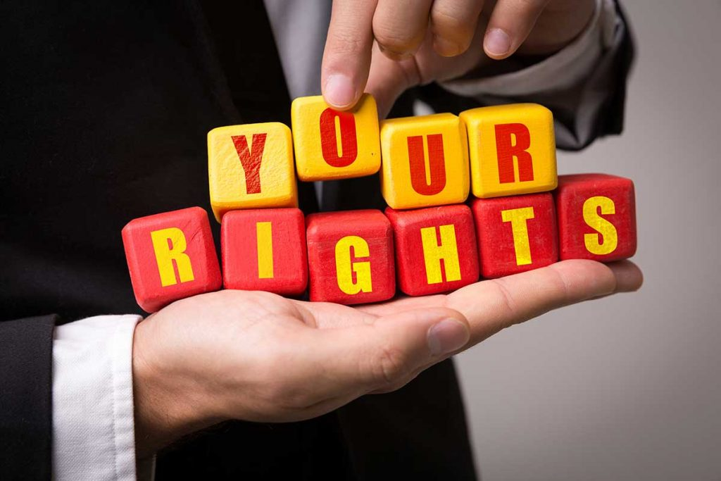 Building blocks formed to read the words 'Your Rights'